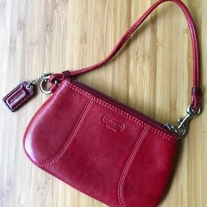 Coach Ruby Red Leather Wristlet